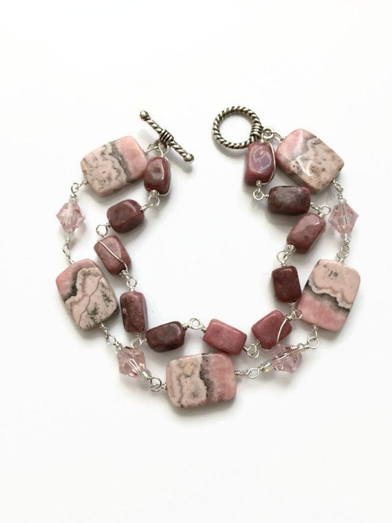 Rhodochrosite Gemstone Multi Strand Bracelet Pink Beaded Bracelet Rhodonite Beaded Bracelet Pink Gemstone Beaded Chain Bracelet (WC36)