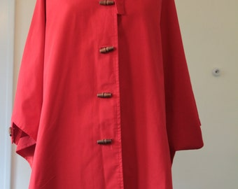 Vintage Red Duck Cloth Hooded Poncho with Wooden Toggle Buttons