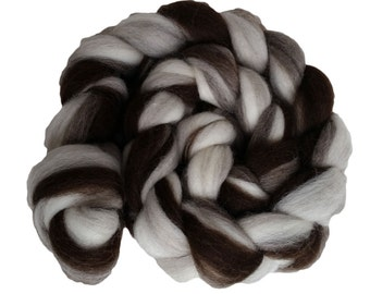 Natural Fusion Stripey Corriedale Wool Roving Braid, 4 oz.