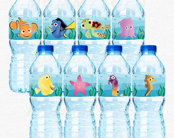 Finding Nemo Dori Birthday Party Water Bottle Labels - Squirt Pearl Sheldon Bubbles Gurgle Peach - DIY Party Printable Instant Download