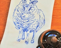 Tea Towel - Screen Printed - Blue Sheep Organic Cotton Towel - Perfect for Dishes - Farm Animal Kitchen Accessories
