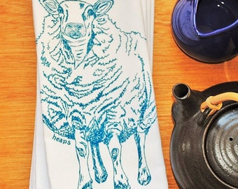 Cotton Napkins - Screen Printed Recycled Cotton Cloth Napkins -  Blue Sheep Cloth Dinner Napkins- Washable and Reusable Eco Friendly