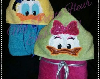 Donald Duck OR Daisy Duck Hooded Towel