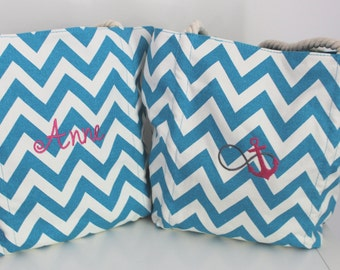 Chevron Monogrammed Embroidered Tote Bag/ Beach Bag/ Anchor Beach Bag/Anchor Tote Bag