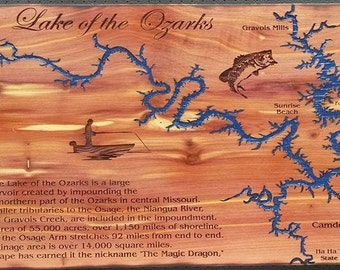 "Lake of the Ozarks map laser engraved on Red Cedar Heartwood 10"" x 23"""