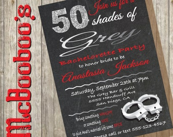 50 Shades of Grey Bachelorette Party Invitation on a chalkboard background