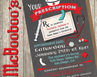 Nursing School Graduation Party Prescription on a chalkboard background