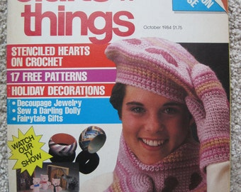 Crafts 'n Things Magazine - October 1984 - 56 Crafts, 17 FREE Patterns, Holiday Decorations, Jewelry, Doilies