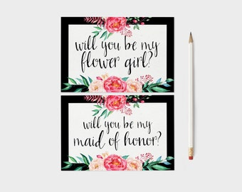 Will You Be My Bridesmaid Printable Cards 4x6 Wedding Printable, Watercolor Floral Black and Pink Wedding Cards, Be My Maid of Honor
