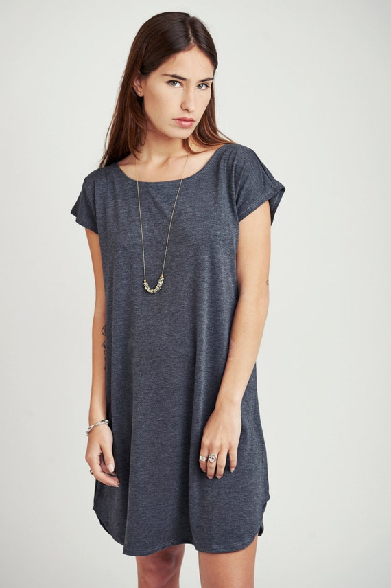Dark gray t shirt dress loose fitting knee length summer for Dark grey shirt dress