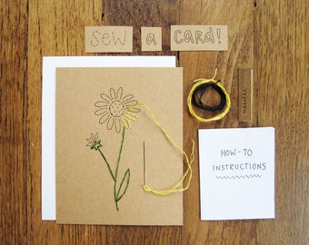Wildflower black eyed susan cards DIY embroidery craft kit