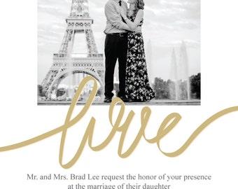 Love Wedding Invitation and RSVP postcards (digital copy)