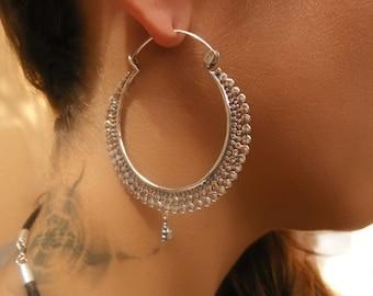 Silver Earrings - Silver Hoops - Gypsy Earrings - Tribal Earrings - Ethnic Earrings - Indian Earrings - Ttibal Hoops - Indian Hoops (ES54)