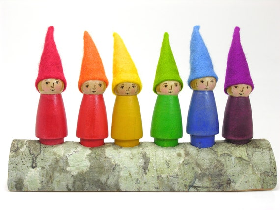 Set of 6 Rainbow Girl Gnomes, painted peg doll, Waldorf inspired toy, wooden kids toy, nature table, handmade toy, wool felt toy
