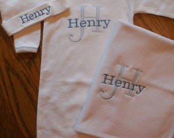 Monogramed Baby Boy Gown, Personalized baby boy set, Gown, Cap, Burp-Cloth, Bib