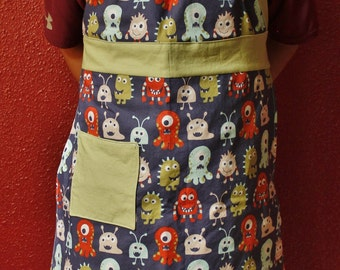 Boys apron, boys full apron, childs apron, youth apron, paint smock, monster apron, boys apron with pocket