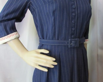 LAST CALL! Mid-Century Office Dress in Navy Pinstripe Red & White Accents
