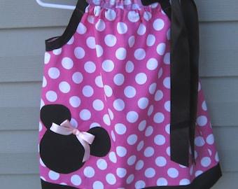 Girls dress, Baby Girls Dress, Sizes 0 to 24 Months/2T, Pillow Case Dress, Polka Dots, Minnie Mouse Inspired, Handmade