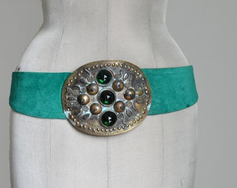 80's Vintage Green Suede Belt Large Bronze Belt Buckle with Green Rhinestones/ M/L