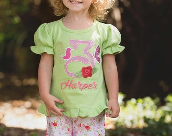 Girl's Birthday Shirt Glitter Number, Rose and Butterfly with Embroidered Name