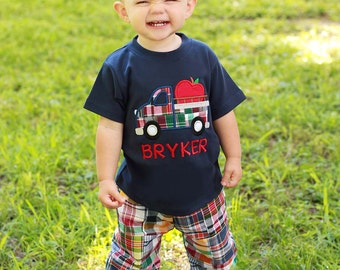 Boy's School Outfit with Apple Truck Shirt and Matching Plaid Pants (or Shorts) - M39
