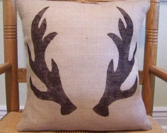 Antler pillow cover, Gift for Dad, Stenciled pillow, Cabin decor, Burlap Pillow Cover, Deer antlers, Cabin pillow, FREE SHIPPING!