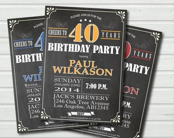 40th birthday invitation. Man or woman surprise birthday invite. Retro chalkboard Yellow. Printable adult birthday party invitation. AB003