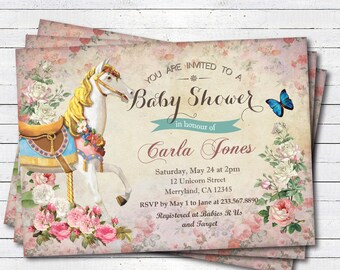 Carousel baby girl shower invitation. Vintage carnival carousel horse, pony baby shower printable digital invite. B129