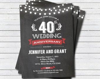 40th Wedding Anniversary Invitation Red Chalkboard Invite String Light Printable