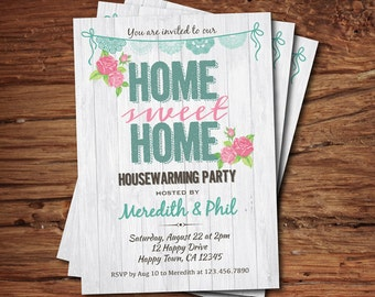 Housewarming party invitation. Home sweet home shabby chic house warming party, pink floral, turquoise. Printable digital invite H024