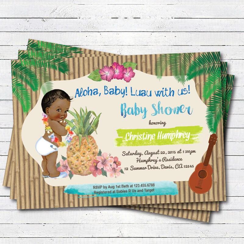 luau baby boy shower invitation hawaiian vintage african