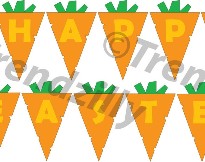 Easter Banner, Happy Easter Banner, Printable Easter Banner, Carrot Easter Banner, Printable Instant download.