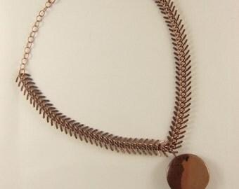 Two-Toned Copper Pendant on Copper Chain
