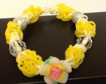 Dual layer Yellow and Glow in the Dark White Beaded Rubber band Bracelet- 'Loomless Lights' Rainbow Loom Bracelet