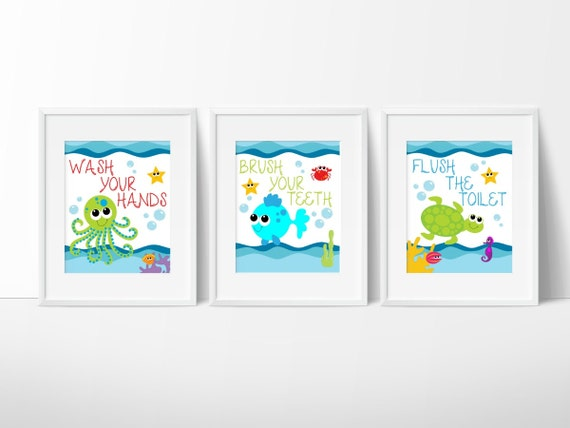 Kids bathroom art sea creature bathroom print set under the for Children s bathroom designs