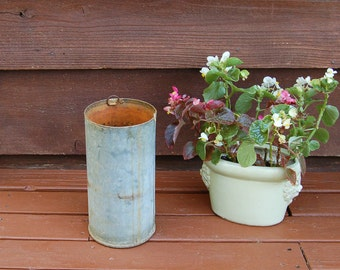Galvanized Bucket, Vintage Tall Narrow Pail, Galvanized Planter Vase