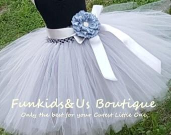 Flower Girl tulle skirt in grey  - Grey Flower girl Tea Length Tutu Skirt