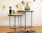 Tripod tables, nesting tables, pedestal tripod, Scandinavian, mid century modern, grey, Olympe model