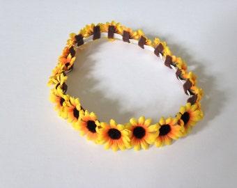The China Cat Sunflower crown, yellow flower crown, coachella flower crown, elastic flower headband, hippie boho