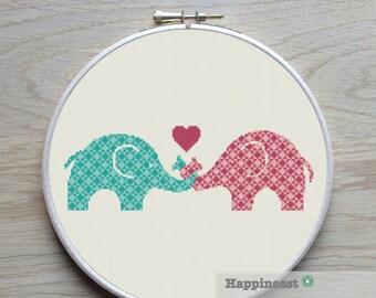 Cross stitch pattern elephants, PDF ** instant download**