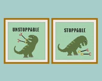 Set of 2 cross stitch T rex pattern, Stoppable & Unstoppable T rex, modern cross stitch,  PDF ** instant download**
