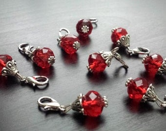 Red Crystal Charm for Floating Lockets, Necklaces, or Bracelets-Gift Ideas for Women