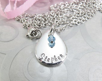 Hand Stamped Name Necklace - Personalized Jewelry - Handstamped Tear Drop Name Pendant - Mommy Necklace - Boyfriend Jewelry
