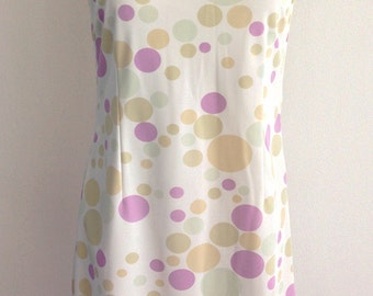Vintage 60s White In Pastel Colors Circles Print Sleeveless Dress Size 44