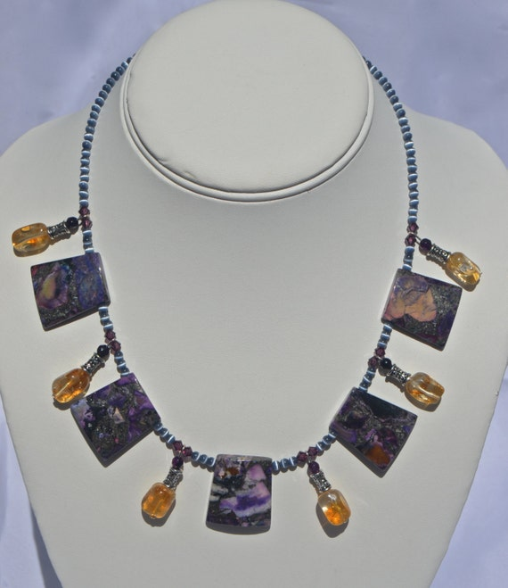 "16"" Purple Copper Godess Necklace"