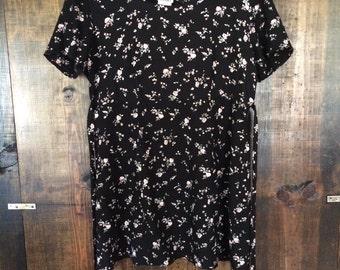 fkvintage Black and Floral Babydoll Style Grunge Dress