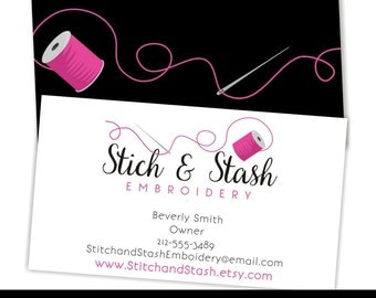 Premade Business Card, Sewing Business Card, Embroidery Business Card, Custom Business Cards