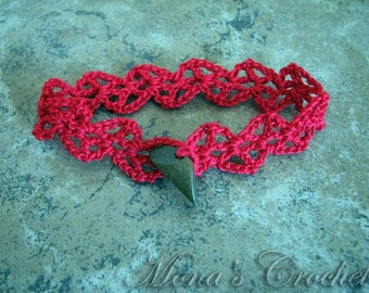 Hand Crocheted Lacy Cuff Bracelet - Red