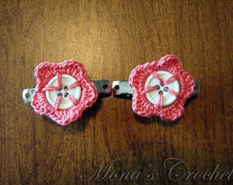 Hand Crocheted Button Flower Hair Barrettes - White and Coral - Set of 2