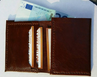 Leather Mens Wallet - Minimal wallet for men - Mens Wallet - Womens wallet - Minimal wallet - Handmade and Hand stitched in Genuine Leather.